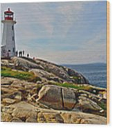 Peggy's Cove Lighthouse On The Rocks-ns Wood Print