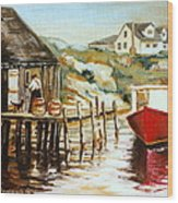 Peggy's Cove Nova Scotia Fishing Village With Red Boat Wood Print