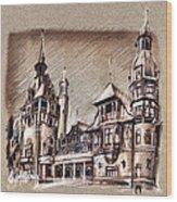 Peles Castle Romania Drawing Wood Print