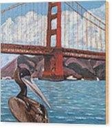 Pelican  And Bridge Wood Print