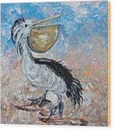Pelican Beach Walk - Impressionist Wood Print