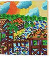 Pelican Convention Cedar Key Wood Print by Mike Segal