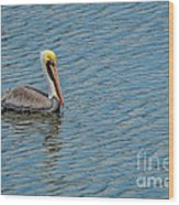 Pelican Drifting On Rippled Water Wood Print