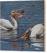Pelican Fishing Buddies Wood Print by Kathleen Bishop