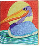 Pelican In The Sun  Wood Print