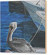 Pelican On A Boat Wood Print