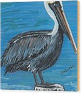 Pelican On Post Wood Print