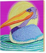 Pelican On The Water 2 Wood Print