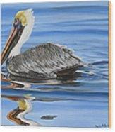 Pelican Ripples Wood Print