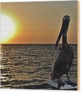 Pelican Sunset 2 Wood Print