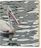 Pelican With Abstract Water Reflections I Wood Print