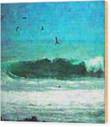 Pelicans Enjoying The Mighty Pacific Impressionism Wood Print