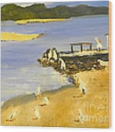 Pelicans On The Shore Wood Print