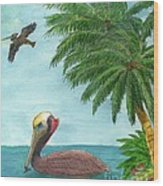 Pelicans Palm Trees Tropical Birds Cathy Peek Wood Print