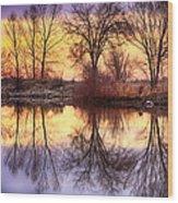 Pella Crossing Sunrise Reflections Hdr Wood Print