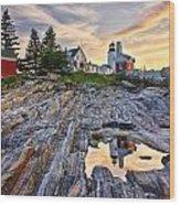 Pemaquid Lighthouse Reflection Wood Print