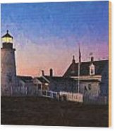 Pemaquid Point Light At Dawn Wood Print