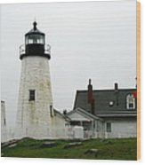 Pemaquid Point Light In The Rain - Maine Wood Print