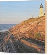 Pemaquid Point Lighthouse Bluffs Wood Print