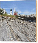 Pemaquid Point Lighthouse In Maine Wood Print by Olivier Le Queinec
