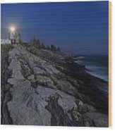 Pemaquid Point Lighthouse Moonlight Wood Print