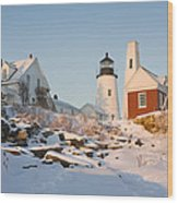 Pemaquid Point Lighthouse Winter In Maine  Wood Print by Keith Webber Jr