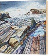 Pemaquid Rocks Wood Print