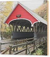 Pemigewasset River Covered Bridge In Fall Wood Print