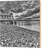 Penarth Pier 2 Mono Wood Print