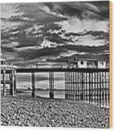 Penarth Pier Panorama Monochrome Wood Print