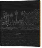 Pencil - A Houseboat On Its Quiet Sojourn Through The Backwaters Wood Print