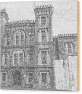 Pencil Drawing Of Old Jail Wood Print