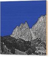 Pencil Sketch Of Dolomites Wood Print