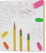 Pencils And Erasers Wood Print