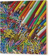 Pencils And Paperclips Wood Print