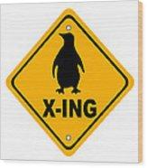 Penguin Crossing Sign Wood Print