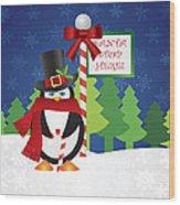 Penguin Top Hat At Santa Stop Here Sign Wood Print