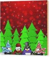 Penguins Carolers Singing With Red Winter Scene Illustration Wood Print