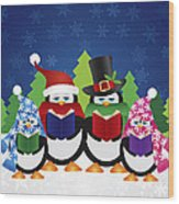 Penguins Carolers With Night Winter Scene Wood Print