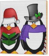 Penguins Singing Christmas Carol Cartoon Clipart Wood Print