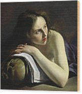 Penitent Magdalen Oil On Canvas Wood Print