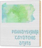 Pennsylvania - Keystone State - Map - State Phrase - Geology Wood Print