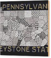 Pennsylvania Map Black Wood Print