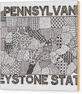 Pennsylvania Map White Wood Print