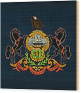 Pennsylvania State Flag Art On Worn Canvas Wood Print by Design Turnpike