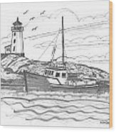 Peggy's Cove Lighthouse Nova Scotia Wood Print