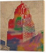 Penobscot Building Iconic Buildings Of Detroit Watercolor On Worn Canvas Series Number 5 Wood Print by Design Turnpike