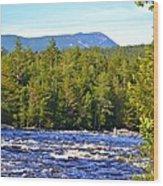 Penobscot River And Mt Katahdin Wood Print