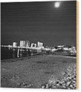 Pensacola Beach At Night Wood Print