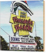 Pensacola Beach Sign Wood Print